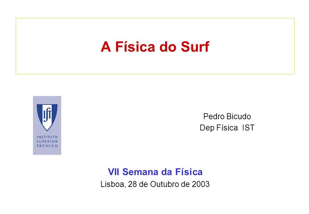 A Física do Surf VII Semana da Física Lisboa, 28 de Outubro de 2003 Pedro Bicudo Dep Física IST