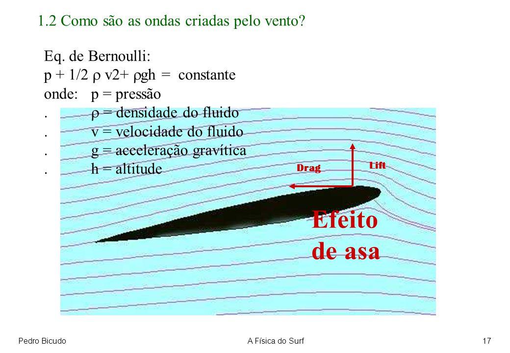 Pedro BicudoA Física do Surf17 1.2 Como são as ondas criadas pelo vento? Eq. de Bernoulli: p + 1/2 v2+ gh = constante onde: p = pressão. = densidade d