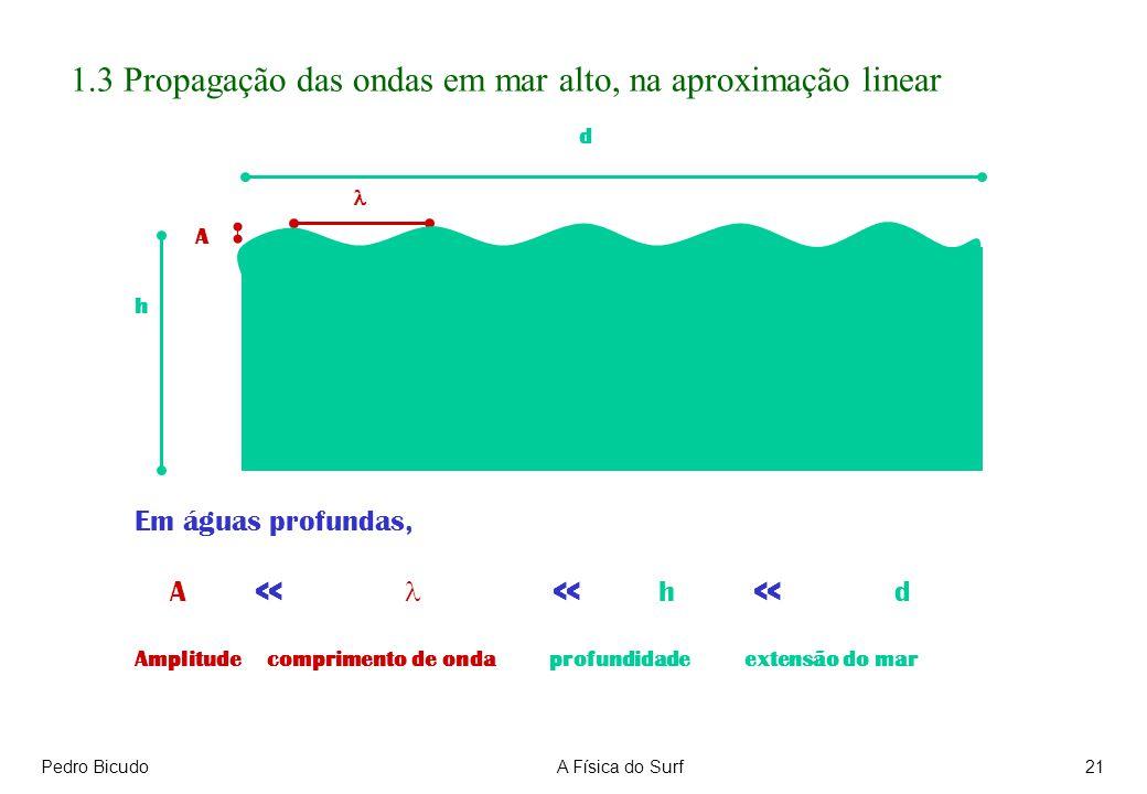 Pedro BicudoA Física do Surf21 1.3 Propagação das ondas em mar alto, na aproximação linear Em águas profundas, A << << h << d Amplitude comprimento de onda profundidade extensão do mar h A d