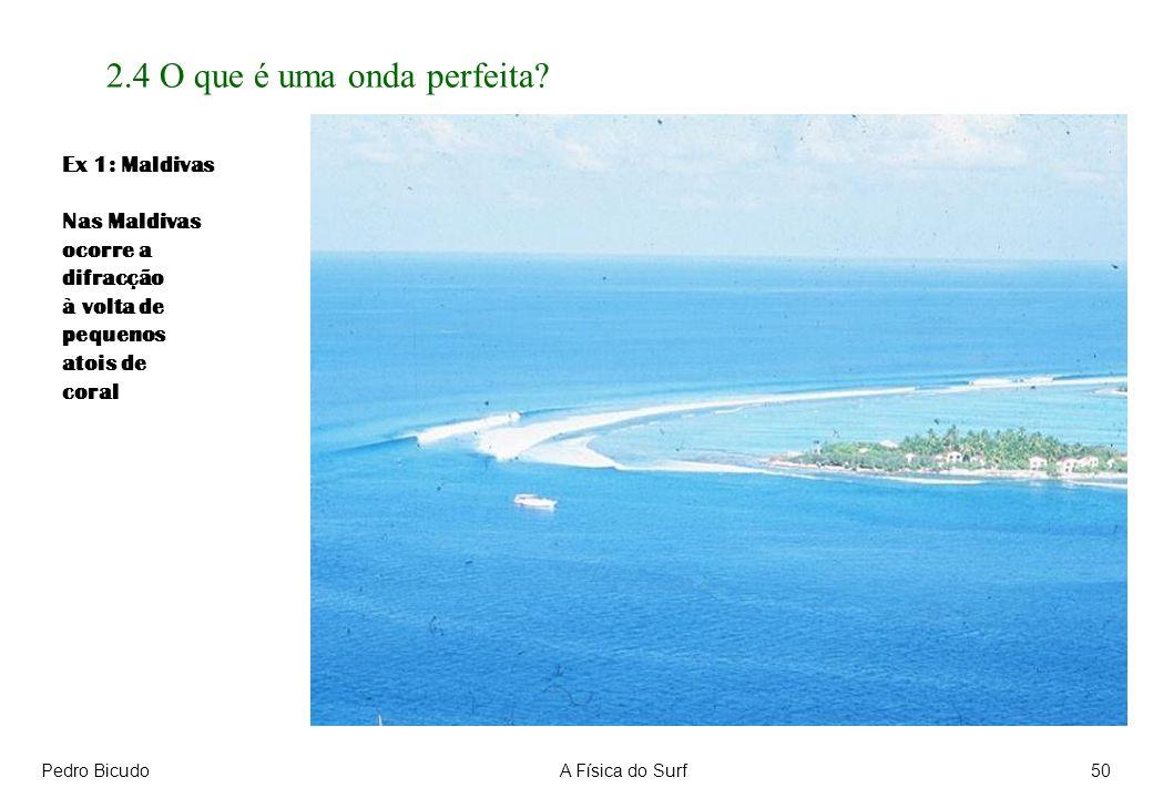 Pedro BicudoA Física do Surf50 2.4 O que é uma onda perfeita? Ex 1: Maldivas Nas Maldivas ocorre a difracção à volta de pequenos atois de coral