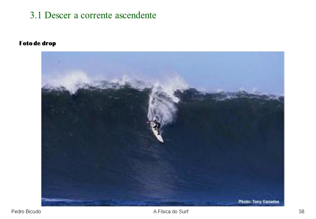 Pedro BicudoA Física do Surf58 3.1 Descer a corrente ascendente Foto de drop
