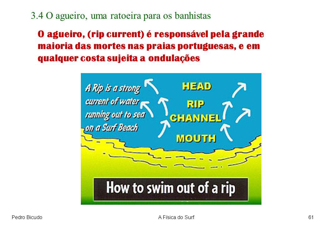 Pedro BicudoA Física do Surf61 3.4 O agueiro, uma ratoeira para os banhistas O agueiro, (rip current) é responsável pela grande maioria das mortes nas praias portuguesas, e em qualquer costa sujeita a ondulações