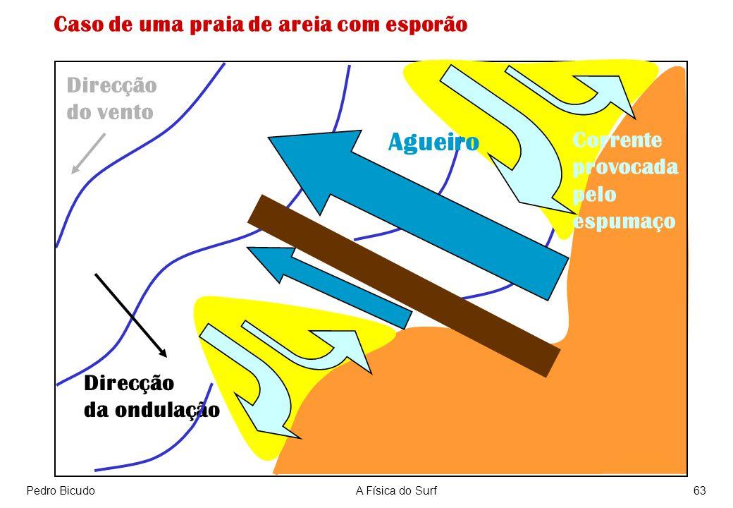 Pedro BicudoA Física do Surf63 Direcção da ondulação Direcção do vento Caso de uma praia de areia com esporão Agueiro Corrente provocada pelo espumaço