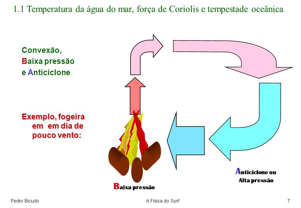 Pedro BicudoA Física do Surf7 Convexão, Baixa pressão e Anticiclone Exemplo, fogeira em em dia de pouco vento: B aixa pressão A nticiclone ou Alta pre
