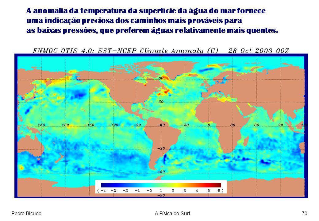 Pedro BicudoA Física do Surf70 A anomalia da temperatura da superfície da água do mar fornece uma indicação preciosa dos caminhos mais prováveis para as baixas pressões, que preferem águas relativamente mais quentes.