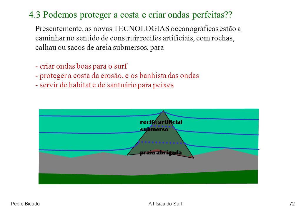 Pedro BicudoA Física do Surf72 Presentemente, as novas TECNOLOGIAS oceanográficas estão a caminhar no sentido de construir recifes artificiais, com ro