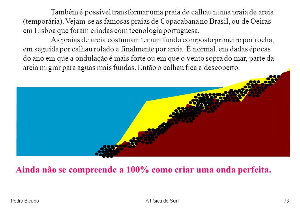 Pedro BicudoA Física do Surf73 Também é possível transformar uma praia de calhau numa praia de areia (temporária).