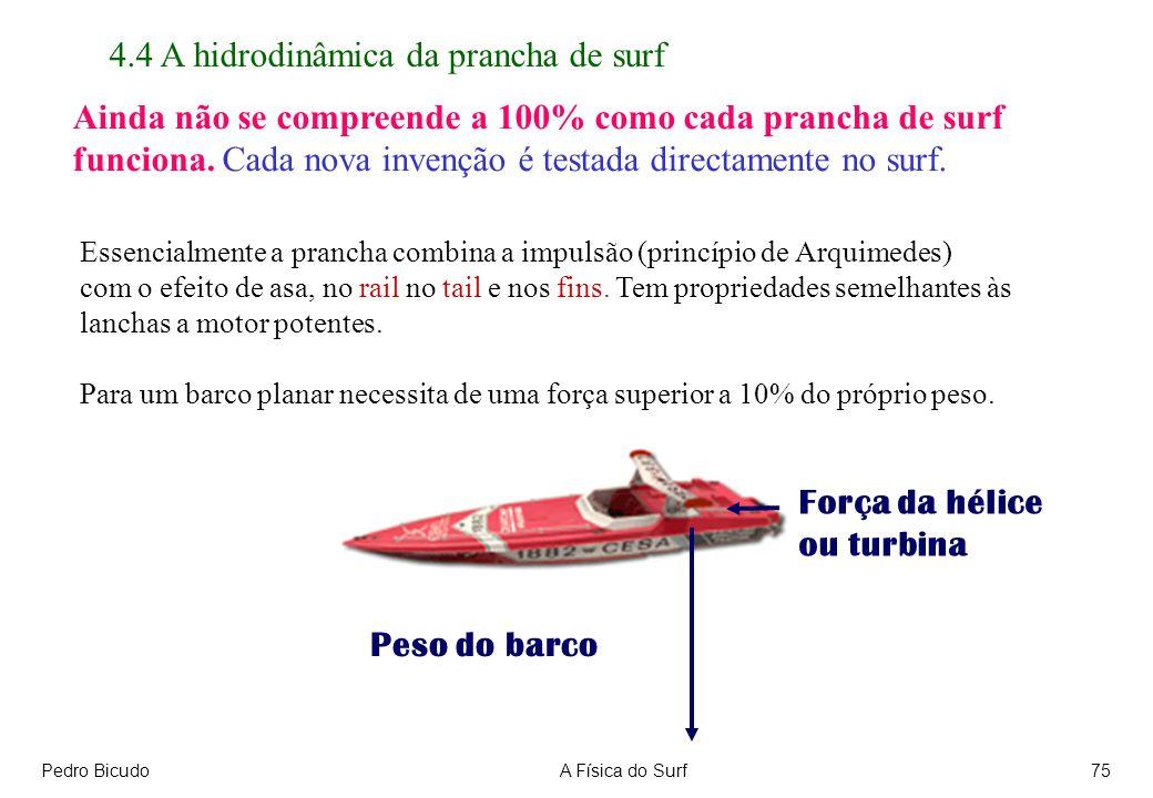 Pedro BicudoA Física do Surf75 Essencialmente a prancha combina a impulsão (princípio de Arquimedes) com o efeito de asa, no rail no tail e nos fins.