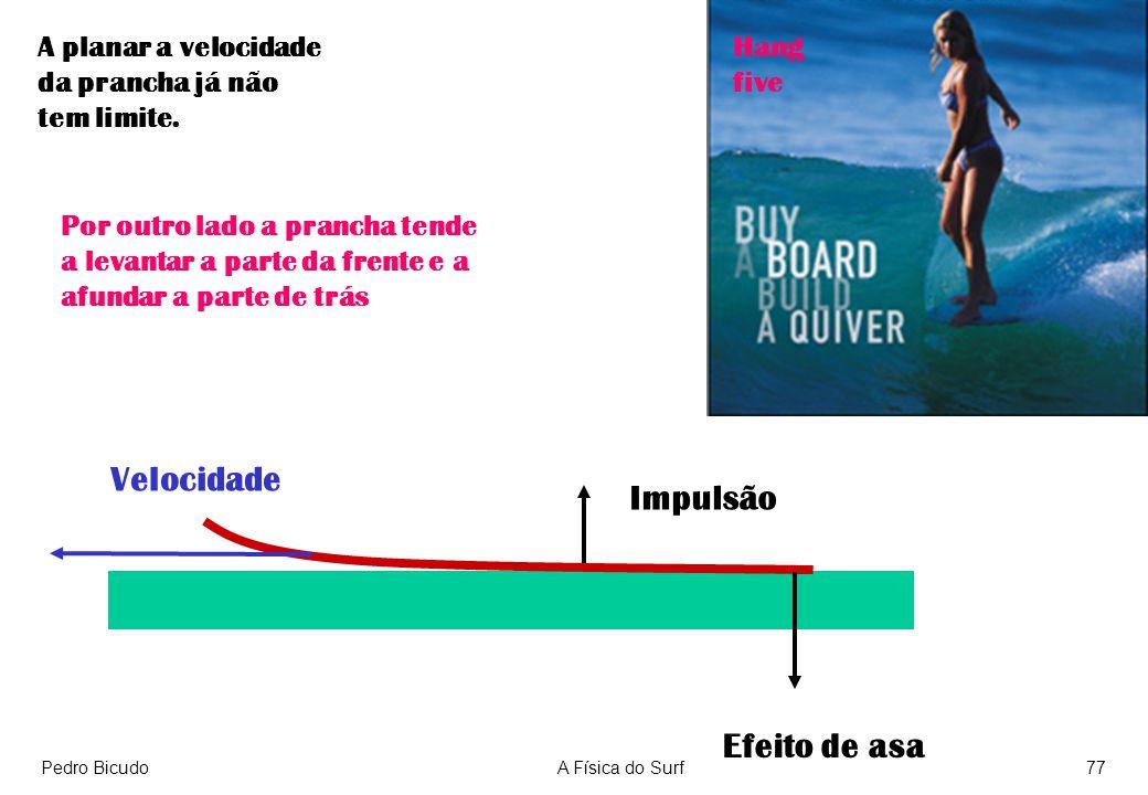 Pedro BicudoA Física do Surf77 A planar a velocidade da prancha já não tem limite. Efeito de asa Impulsão Por outro lado a prancha tende a levantar a