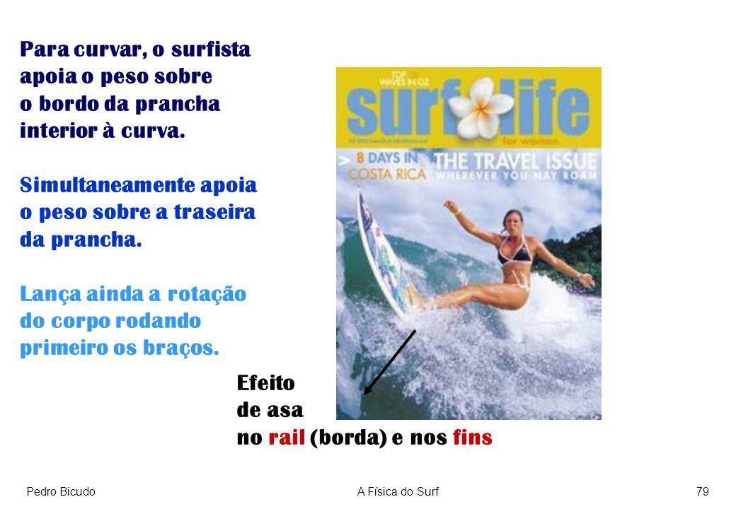 Pedro BicudoA Física do Surf79 Para curvar, o surfista apoia o peso sobre o bordo da prancha interior à curva. Simultaneamente apoia o peso sobre a tr