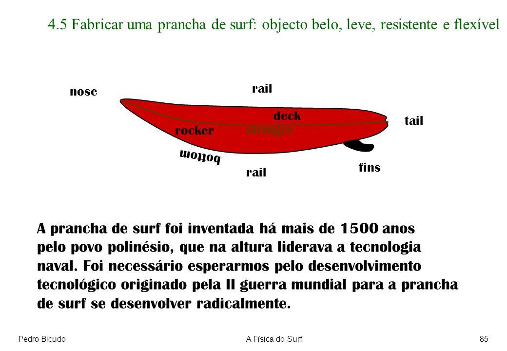Pedro BicudoA Física do Surf85 4.5 Fabricar uma prancha de surf: objecto belo, leve, resistente e flexível nose tail rail deck bottom fins A prancha de surf foi inventada há mais de 1500 anos pelo povo polinésio, que na altura liderava a tecnologia naval.