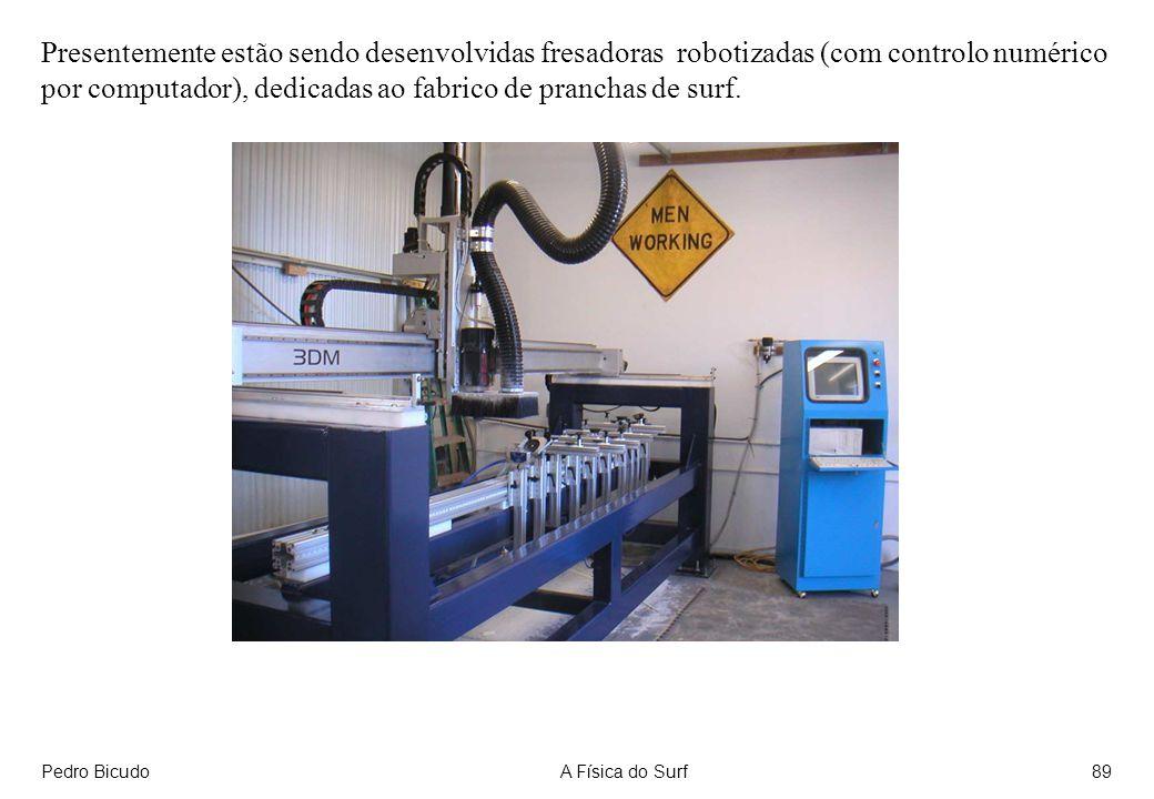 Pedro BicudoA Física do Surf89 Presentemente estão sendo desenvolvidas fresadoras robotizadas (com controlo numérico por computador), dedicadas ao fabrico de pranchas de surf.