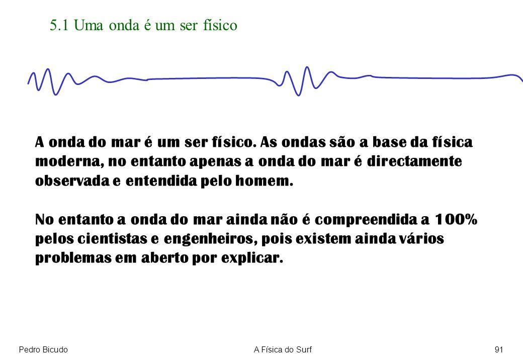 Pedro BicudoA Física do Surf91 5.1 Uma onda é um ser físico A onda do mar é um ser físico. As ondas são a base da física moderna, no entanto apenas a