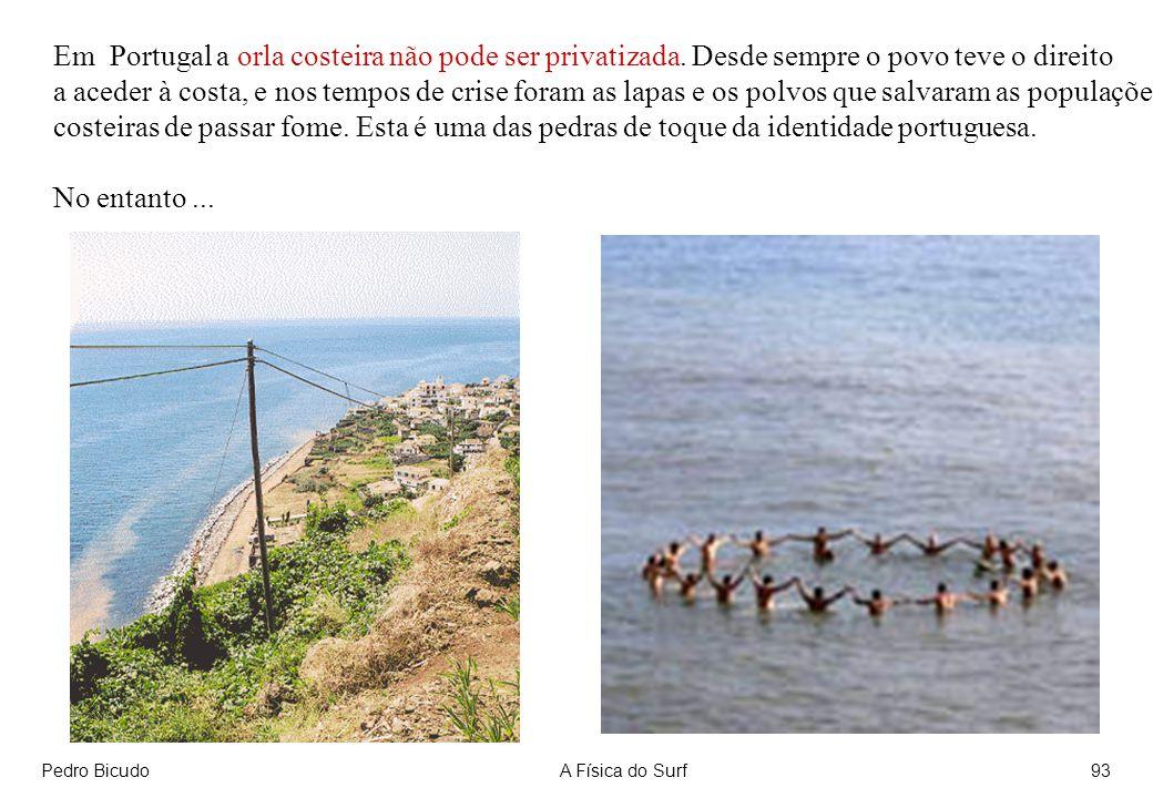 Pedro BicudoA Física do Surf93 Em Portugal a orla costeira não pode ser privatizada. Desde sempre o povo teve o direito a aceder à costa, e nos tempos