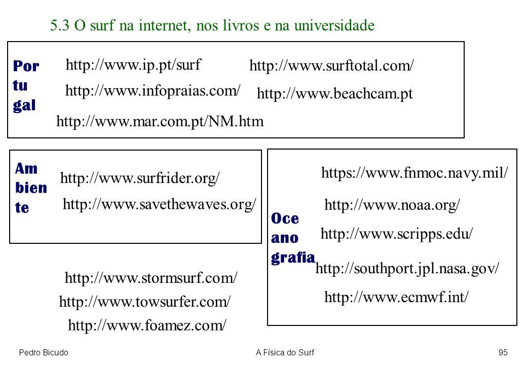 Pedro BicudoA Física do Surf95 5.3 O surf na internet, nos livros e na universidade http://www.savethewaves.org/ http://www.foamez.com/ http://www.stormsurf.com/ http://www.surftotal.com/ http://www.towsurfer.com/ http://southport.jpl.nasa.gov/ http://www.scripps.edu/ http://www.surfrider.org/ http://www.infopraias.com/ https://www.fnmoc.navy.mil/ http://www.noaa.org/ http://www.ecmwf.int/ http://www.ip.pt/surf http://www.beachcam.pt http://www.mar.com.pt/NM.htm Por tu gal Am bien te Oce ano grafia