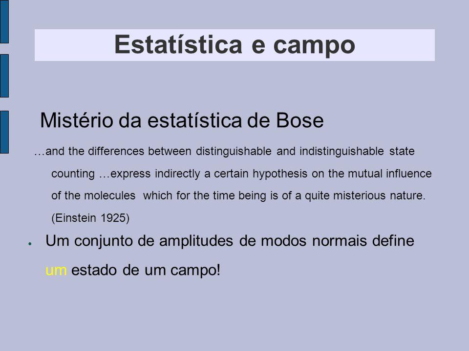 Mistério da estatística de Bose Estatística e campo Um conjunto de amplitudes de modos normais define um estado de um campo.