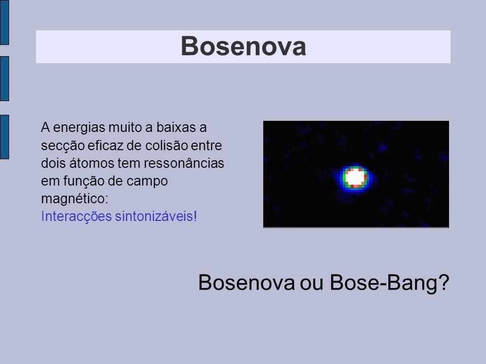 Bosenova A energias muito a baixas a secção eficaz de colisão entre dois átomos tem ressonâncias em função de campo magnético: Interacções sintonizáveis.