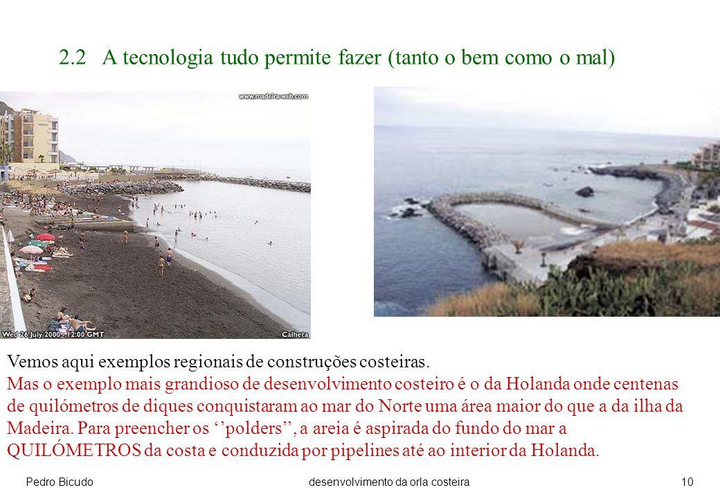Pedro Bicudodesenvolvimento da orla costeira10 2.2 A tecnologia tudo permite fazer (tanto o bem como o mal) Vemos aqui exemplos regionais de construções costeiras.