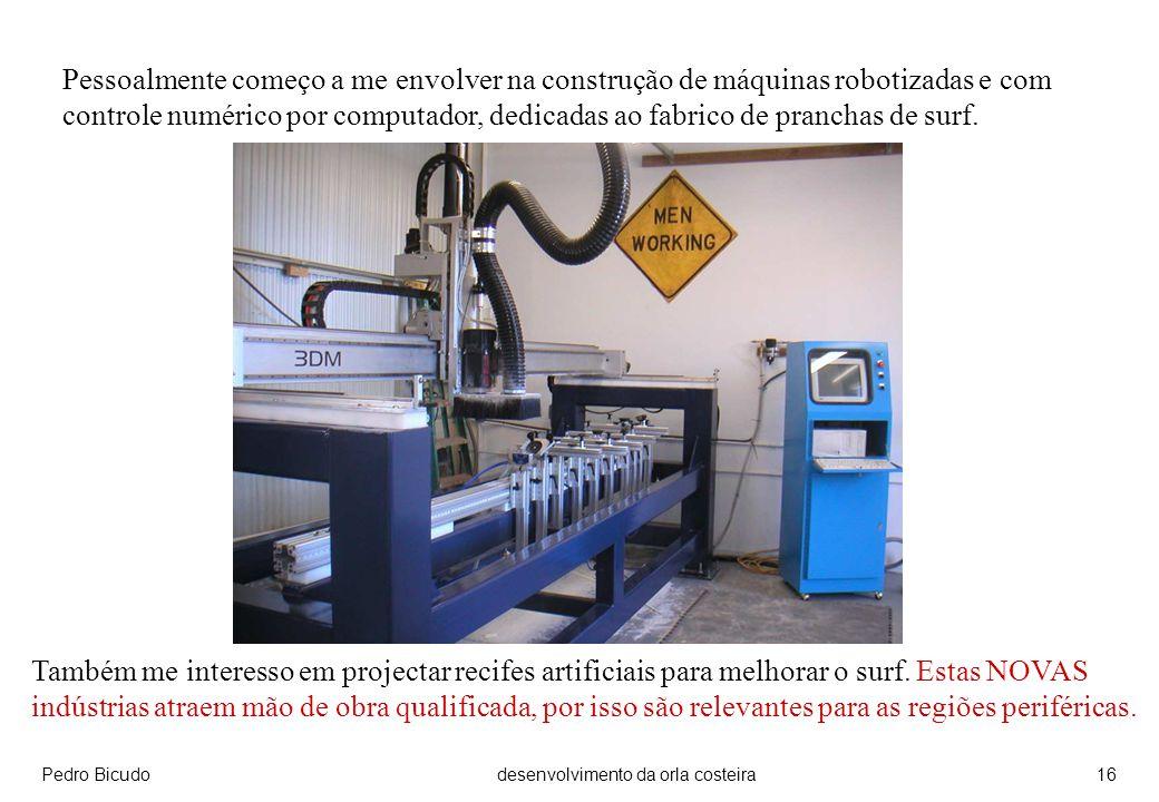 Pedro Bicudodesenvolvimento da orla costeira16 Pessoalmente começo a me envolver na construção de máquinas robotizadas e com controle numérico por computador, dedicadas ao fabrico de pranchas de surf.