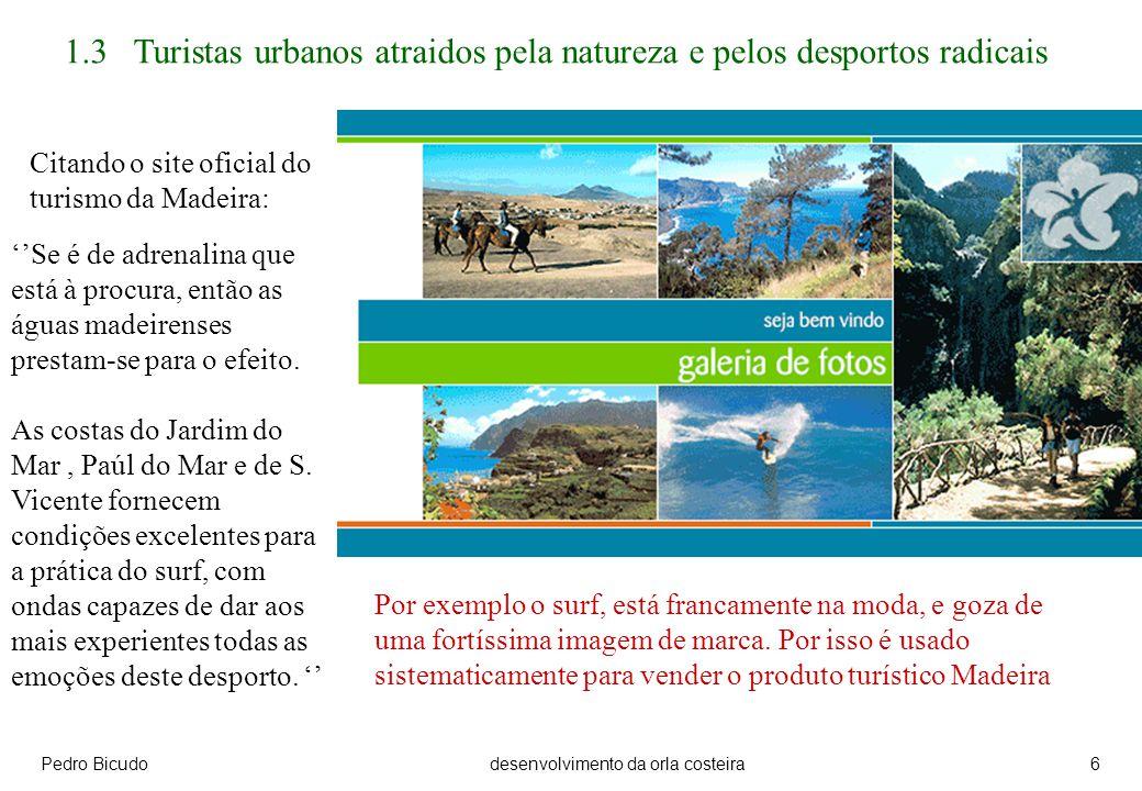 Pedro Bicudodesenvolvimento da orla costeira6 Citando o site oficial do turismo da Madeira: 1.3 Turistas urbanos atraidos pela natureza e pelos desportos radicais Se é de adrenalina que está à procura, então as águas madeirenses prestam-se para o efeito.