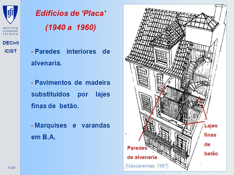 11/40 DECivil ICIST Edifícios de Placa (1940 a 1960) Lajes finas de betão [Mascarenhas, 1997] Paredes interiores de alvenaria. Pavimentos de madeira s