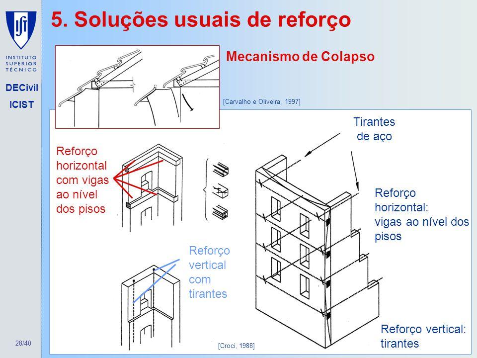 28/40 DECivil ICIST Mecanismo de Colapso Reforço vertical com tirantes Reforço horizontal com vigas ao nível dos pisos Reforço vertical: tirantes Tira