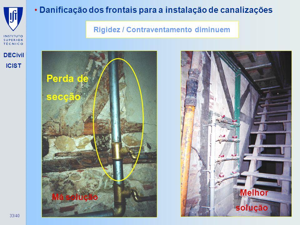 33/40 DECivil ICIST Danificação dos frontais para a instalação de canalizações Perda de secção Má solução Melhor solução Rigidez / Contraventamento di