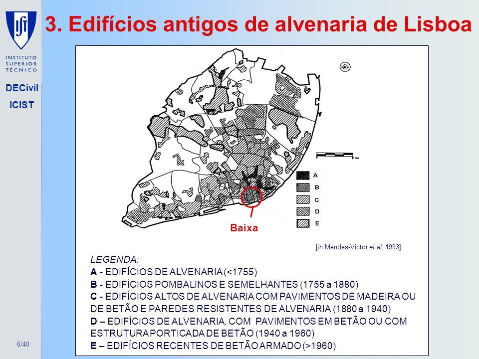 6/40 DECivil ICIST 3. Edifícios antigos de alvenaria de Lisboa LEGENDA: A - EDIFÍCIOS DE ALVENARIA (<1755) B - EDIFÍCIOS POMBALINOS E SEMELHANTES (175