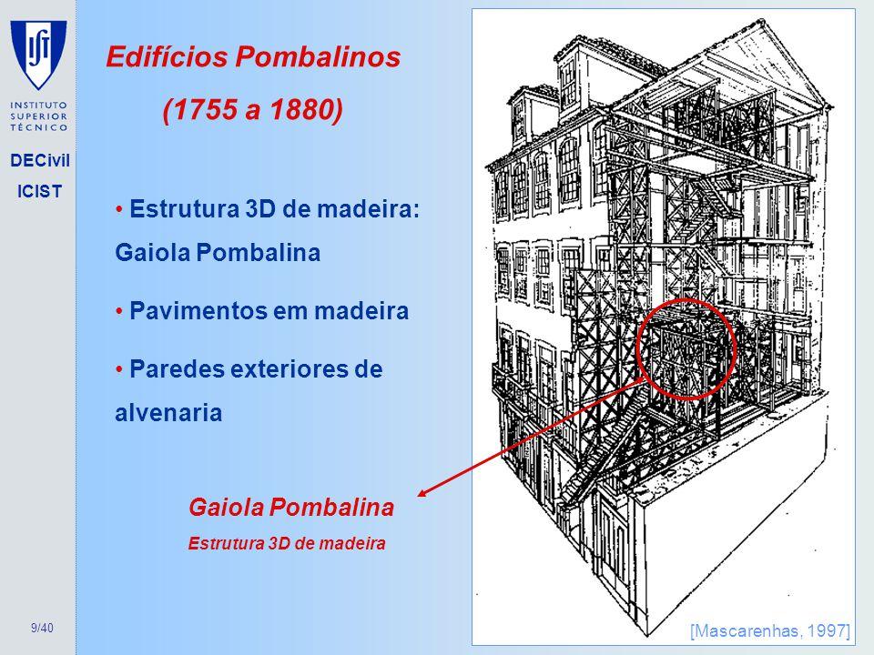 9/40 DECivil ICIST Edifícios Pombalinos (1755 a 1880) Gaiola Pombalina Estrutura 3D de madeira Estrutura 3D de madeira: Gaiola Pombalina Pavimentos em
