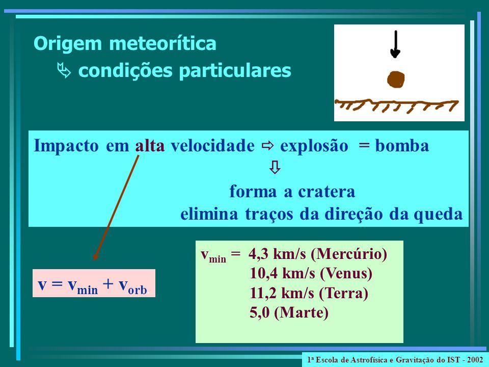 Origem meteorítica condições particulares Impacto em alta velocidade explosão = bomba forma a cratera elimina traços da direção da queda v min = 4,3 km/s (Mercúrio) 10,4 km/s (Venus) 11,2 km/s (Terra) 5,0 (Marte) v = v min + v orb.