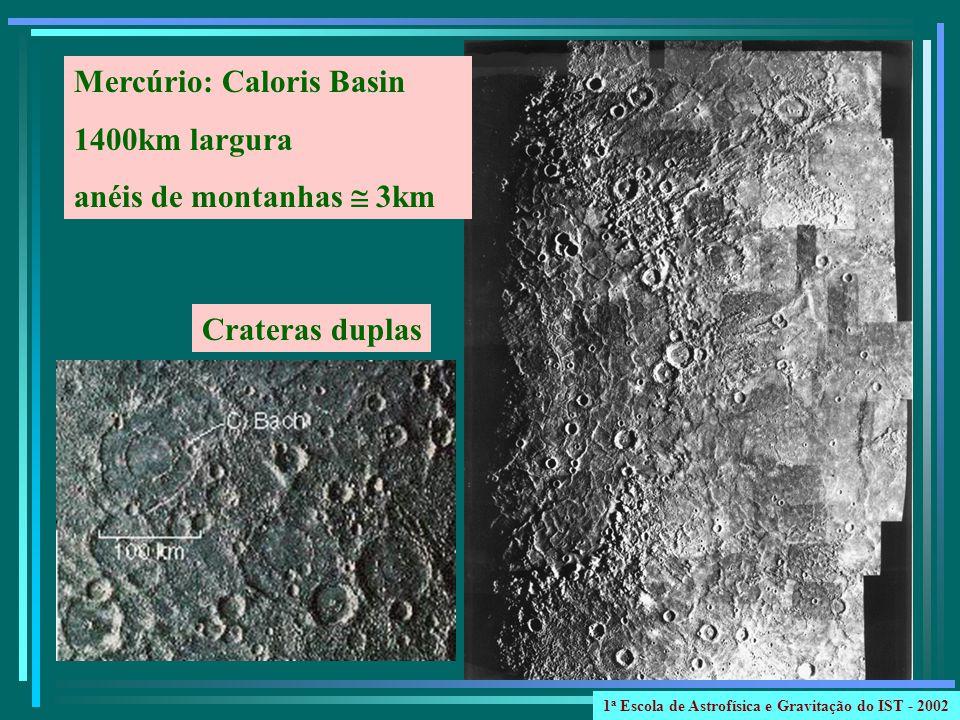 Mercúrio: Caloris Basin 1400km largura anéis de montanhas 3km Crateras duplas 1 a Escola de Astrofísica e Gravitação do IST - 2002