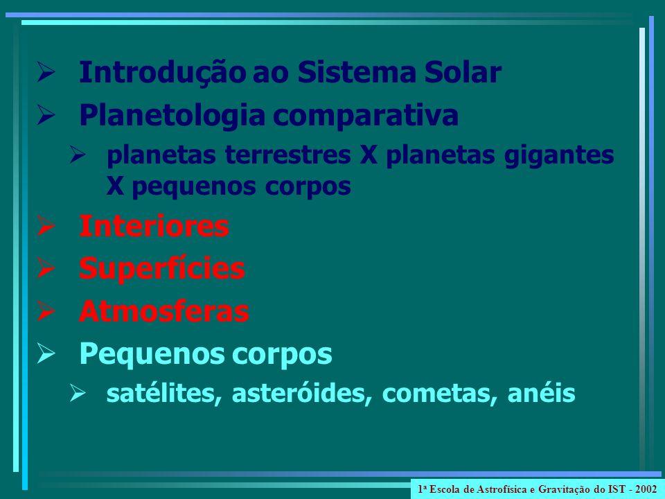 Júpiter: intensidade ~ 1 x 10 6 vezes da Terra extensão ~ 30 x 10 6 km Saturno: intensidade ~ 100 vezes da Terra extensão ~ 1 x 10 6 km Urano e Netuno: intensidade ~ 100 vezes da Terra extensão ~ 4 x raio da Terra 1 a Escola de Astrofísica e Gravitação do IST - 2002