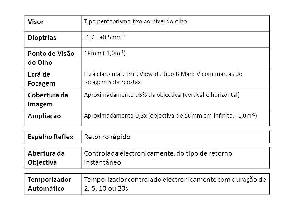 Visor Tipo pentaprisma fixo ao nível do olho Dioptrias -1,7 - +0,5mm -1 Ponto de Visão do Olho 18mm (-1,0m -1 ) Ecrã de Focagem Ecrã claro mate BriteV