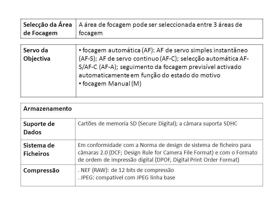 Armazenamento Suporte de Dados Cartões de memoria SD (Secure Digital); a câmara suporta SDHC Sistema de Ficheiros Em conformidade com a Norma de desig