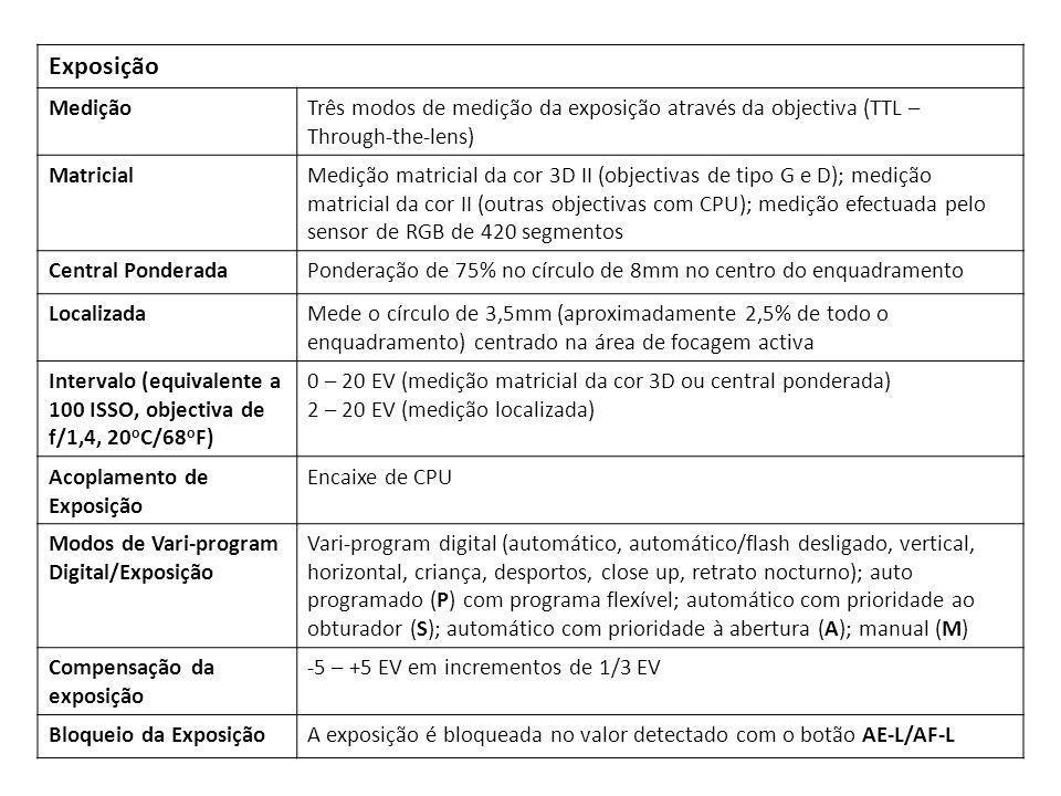 Exposição MediçãoTrês modos de medição da exposição através da objectiva (TTL – Through-the-lens) MatricialMedição matricial da cor 3D II (objectivas