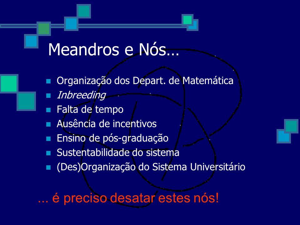 Meandros e Nós… Organização dos Depart. de Matemática Inbreeding Falta de tempo Ausência de incentivos Ensino de pós-graduação Sustentabilidade do sis