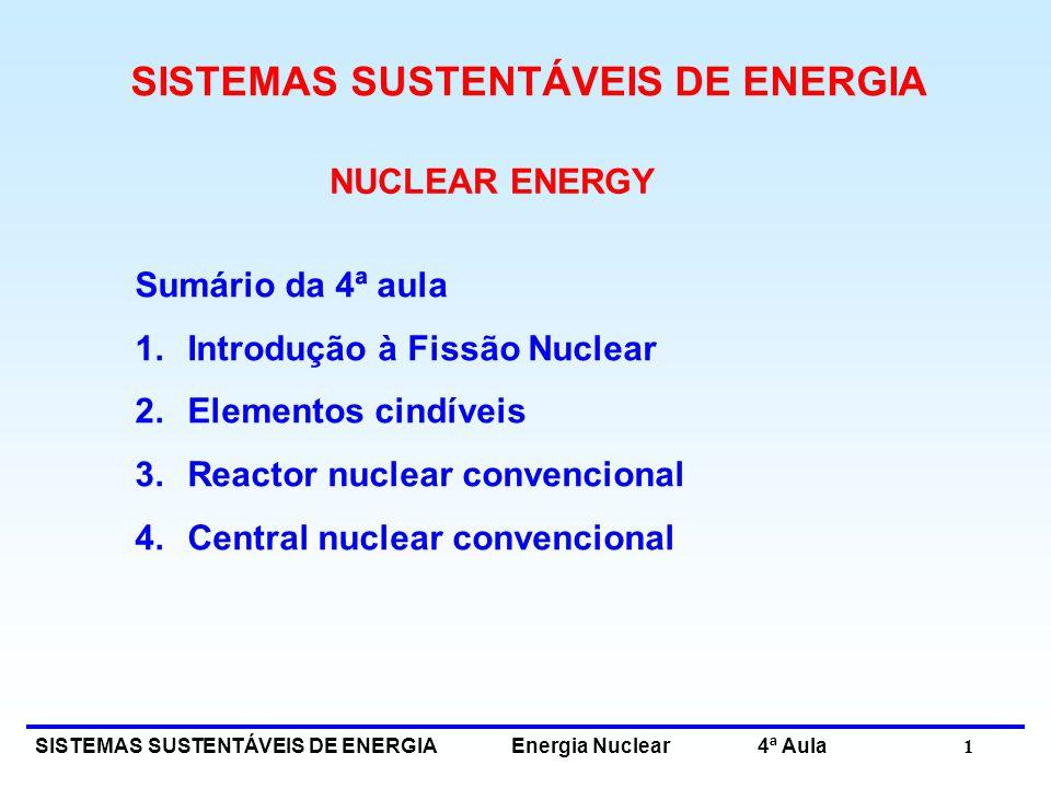SISTEMAS SUSTENTÁVEIS DE ENERGIA Energia Nuclear 4ª Aula 1 NUCLEAR ENERGY Sumário da 4ª aula 1.Introdução à Fissão Nuclear 2.Elementos cindíveis 3.Rea
