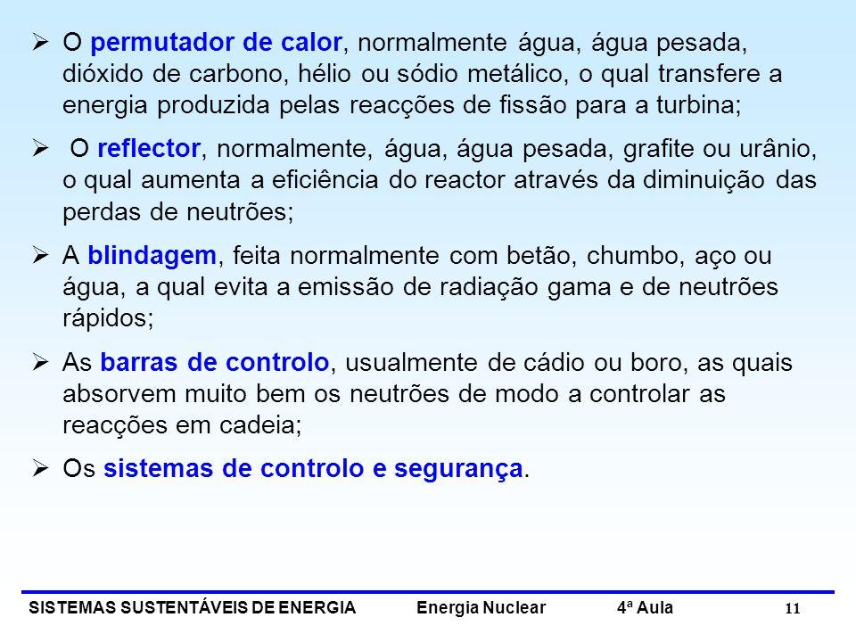 SISTEMAS SUSTENTÁVEIS DE ENERGIA Energia Nuclear 4ª Aula 11 O permutador de calor, normalmente água, água pesada, dióxido de carbono, hélio ou sódio m