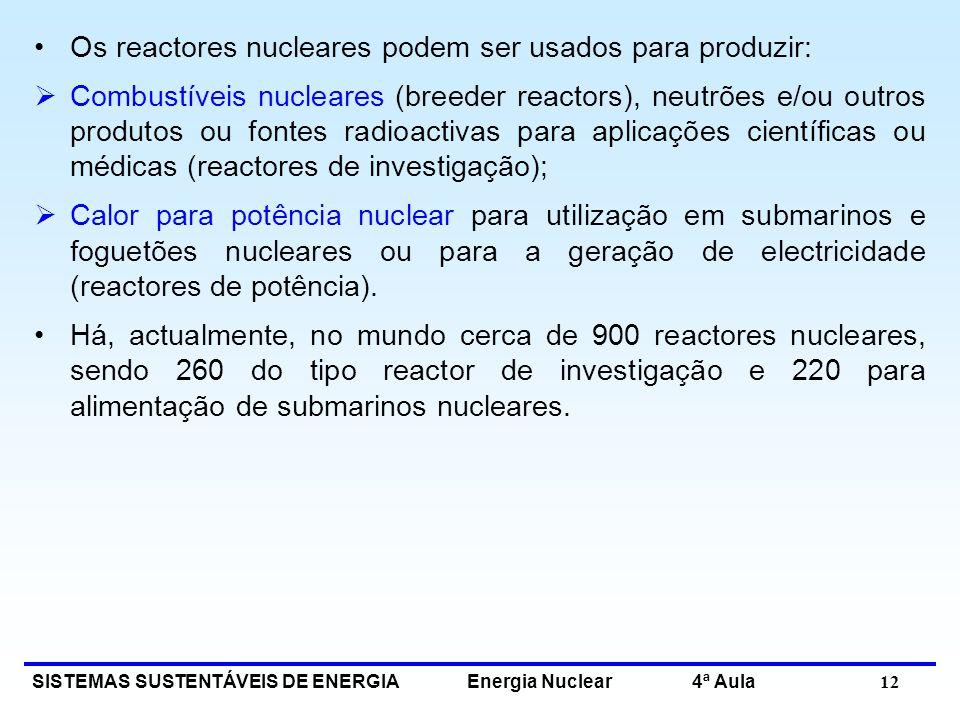 SISTEMAS SUSTENTÁVEIS DE ENERGIA Energia Nuclear 4ª Aula 12 Os reactores nucleares podem ser usados para produzir: Combustíveis nucleares (breeder rea