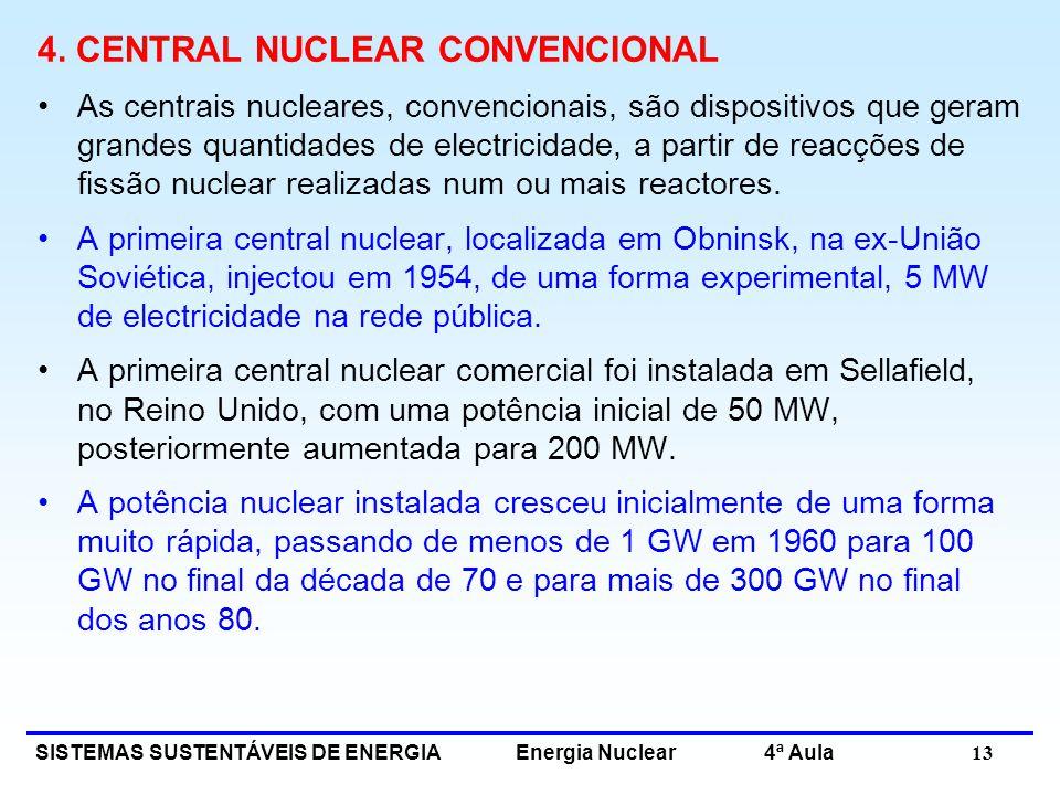 SISTEMAS SUSTENTÁVEIS DE ENERGIA Energia Nuclear 4ª Aula 13 4. CENTRAL NUCLEAR CONVENCIONAL As centrais nucleares, convencionais, são dispositivos que