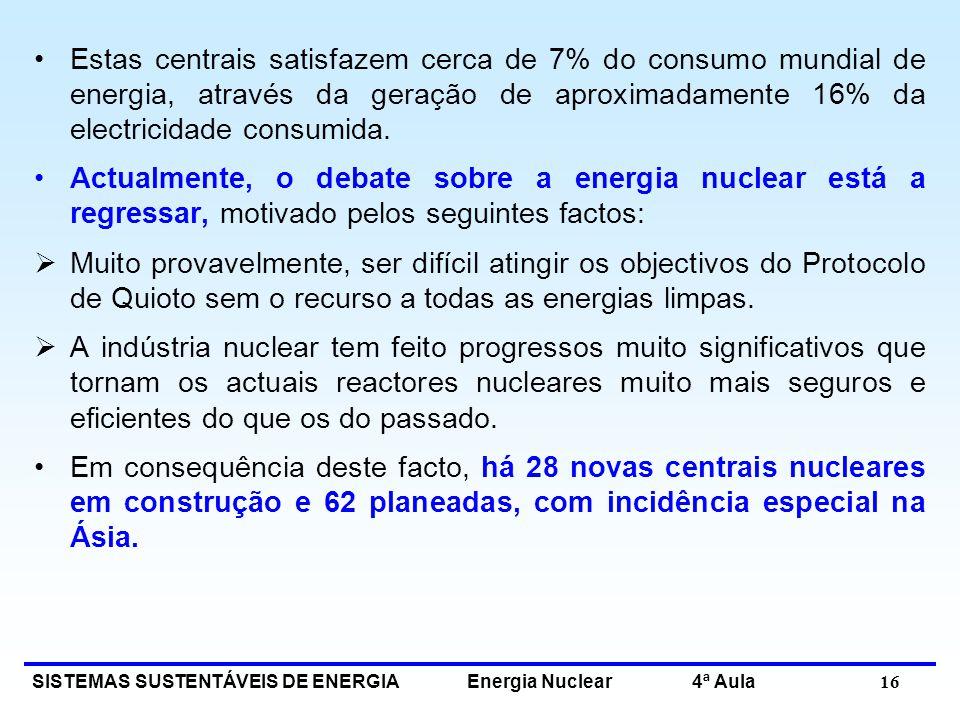 SISTEMAS SUSTENTÁVEIS DE ENERGIA Energia Nuclear 4ª Aula 16 Estas centrais satisfazem cerca de 7% do consumo mundial de energia, através da geração de