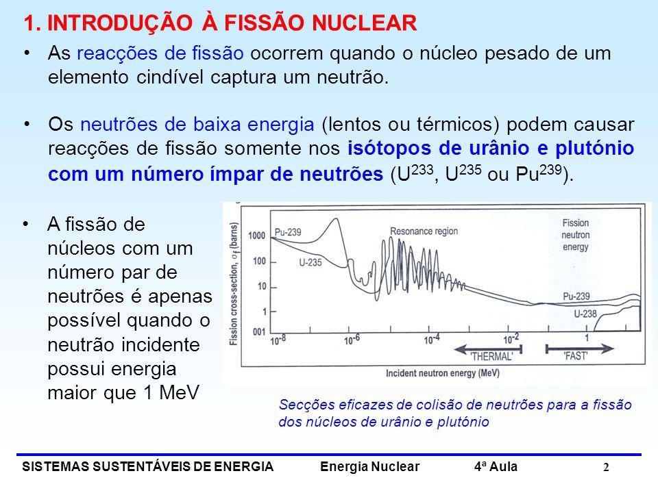 SISTEMAS SUSTENTÁVEIS DE ENERGIA Energia Nuclear 4ª Aula 2 1. INTRODUÇÃO À FISSÃO NUCLEAR As reacções de fissão ocorrem quando o núcleo pesado de um e