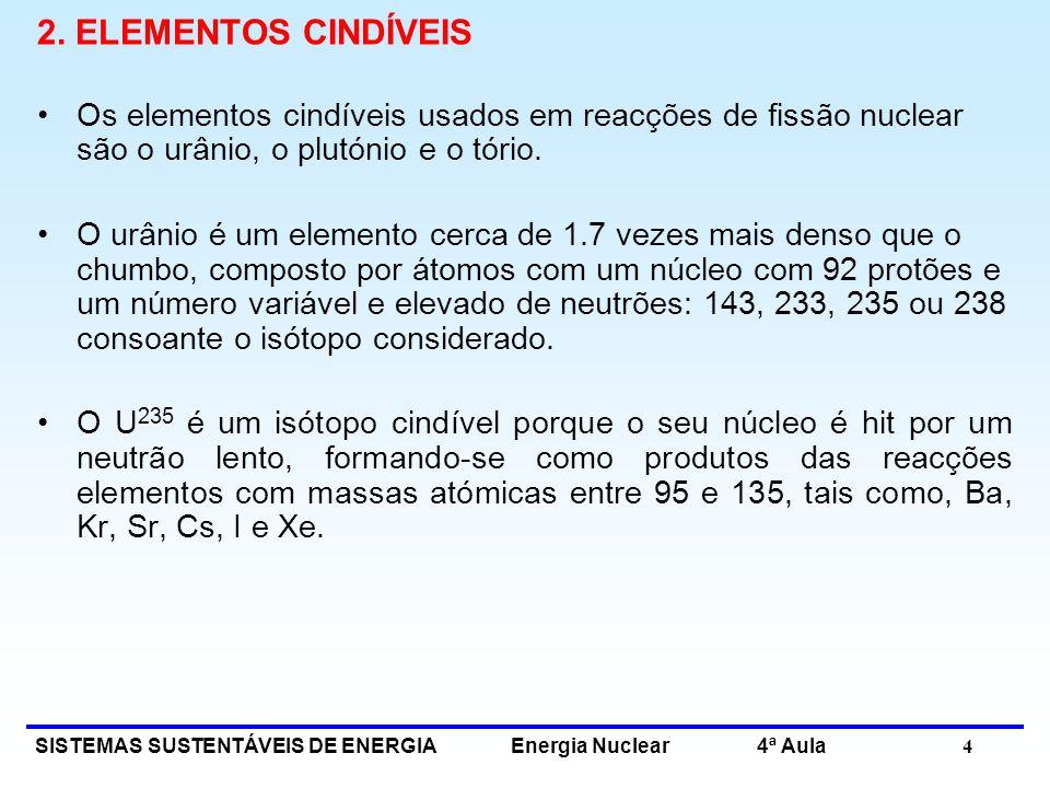 SISTEMAS SUSTENTÁVEIS DE ENERGIA Energia Nuclear 4ª Aula 4 2. ELEMENTOS CINDÍVEIS Os elementos cindíveis usados em reacções de fissão nuclear são o ur