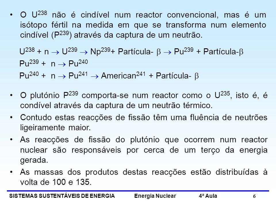 SISTEMAS SUSTENTÁVEIS DE ENERGIA Energia Nuclear 4ª Aula 6 O U 238 não é cindível num reactor convencional, mas é um isótopo fértil na medida em que s