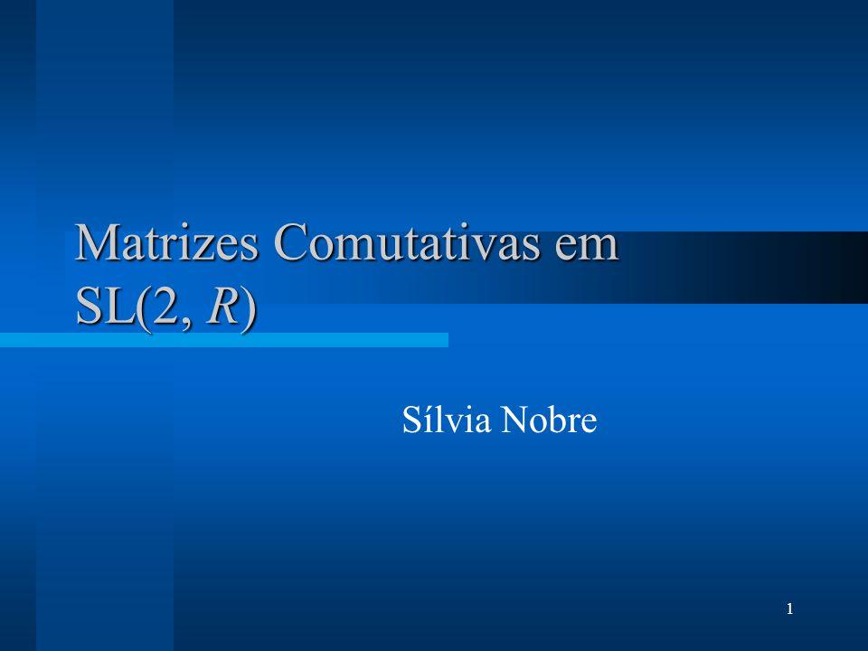 2 Objectivos Encontrar a forma canónica de Jordan para pares de matrizes comutativas de SL(2, R) Analisar este problema para outros grupos