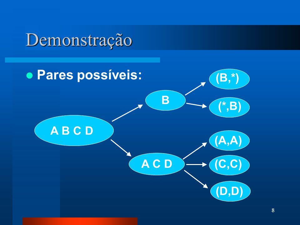 8 Demonstração Pares possíveis: A B C D B (D,D) (C,C) (A,A) A C D (*,B) (B,*)