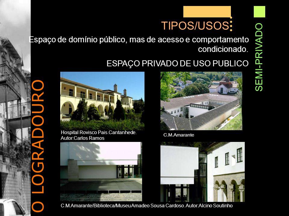 O LOGRADOURO TIPOS/USOS SEMI-PRIVADO Espaço de domínio público, mas de acesso e comportamento condicionado.
