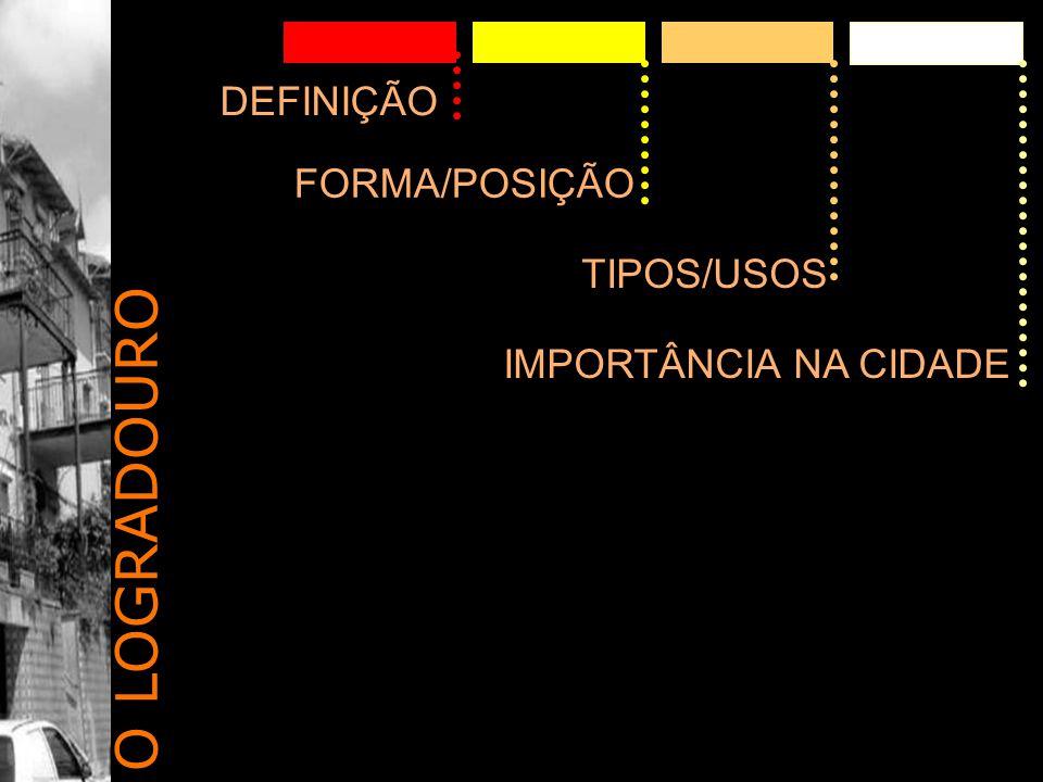 O LOGRADOURO DEFINIÇÃO FORMA/POSIÇÃO TIPOS/USOS IMPORTÂNCIA NA CIDADE