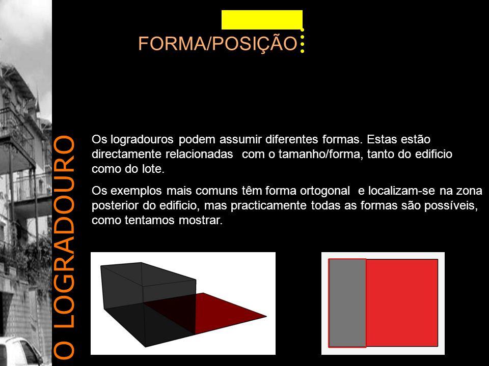 O LOGRADOURO FORMA/POSIÇÃO Os logradouros podem assumir diferentes formas.