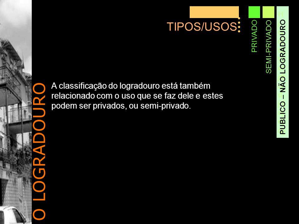 O LOGRADOURO TIPOS/USOS Hjdjdjdtyjjetjdjdjdjdjdjdjdjj PRIVADO SEMI-PRIVADO PUBLICO – NÃO LOGRADOURO A classificação do logradouro está também relacionado com o uso que se faz dele e estes podem ser privados, ou semi-privado.
